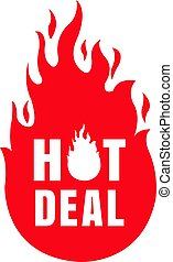 Hot Deal Label Isolated White Background