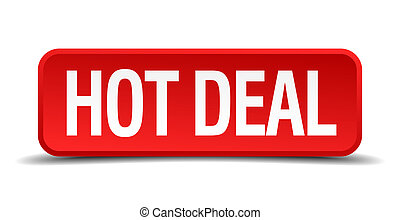 Hot deal red 3d square button on white background
