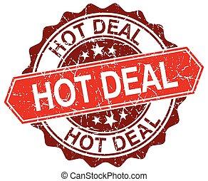 hot deal red round grunge stamp on white