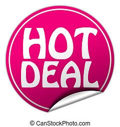 hot deal round pink sticker on white background