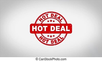 Hot Deal Signed Stamping Text Wooden Stamp Animation. Red Ink on Clean White Paper Surface Background with Green matte Background Included.