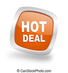 hot deal square orange glossy chrome silver metallic web icon