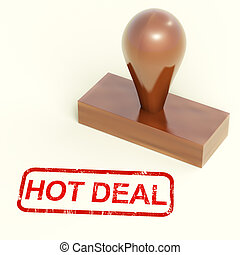 Hot Deal Stamp Shows Special Discounts - Hot Deal Stamp...
