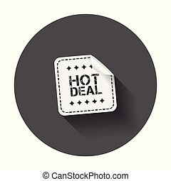 Hot deal sticker. Vector illustration with long shadow.
