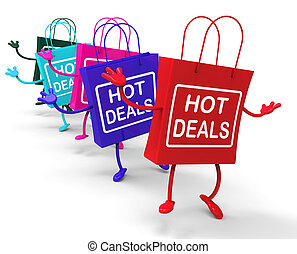 Hot Deals Bags Representing Shopping Discounts an Bargains