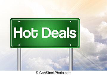 Hot Deals Green Road Sign, Business Concept