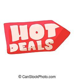Hot deals icon, cartoon style