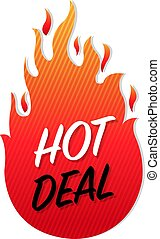 Hot Deals Label Isolated White Background