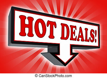hot deals money red and black arrow sign - hot deals red and...