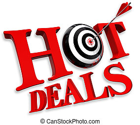 hot deals red logo with conceptual target and arrow on white...