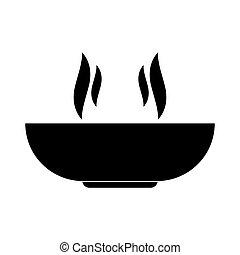 Hot dish black color icon .
