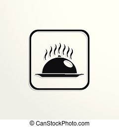 Hot dish with food under the hood. Vector icon.