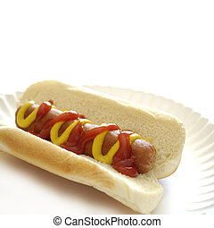 Hot Dob - Hot dog on a bun on a white plate with ketchup and...