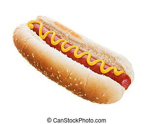 Hot dog - American hot dog on a white background