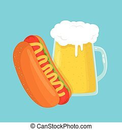 hot dog and beer glass. vector flat cartoon