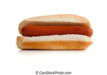 hot dog and bun on white