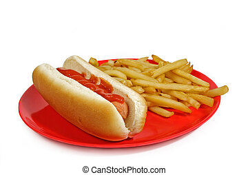hot-dog and fries on a red plate