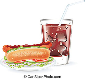 Hot Dog and Shake vector