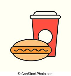 hot dog and soft drink, food and gastronomy set, filled outline icon