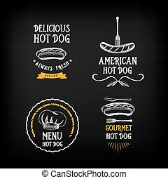 Hot dog badges and menu design elements. Vector with graphic...