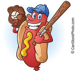 A smiling hot dog baseball player cartoon character with a bat, cap and catchers mitt