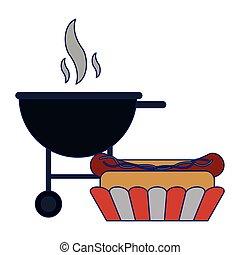 Hot dog bbq grill fast food blue lines