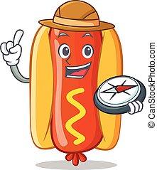 hot-dog, caractère, explorateur, dessin animé