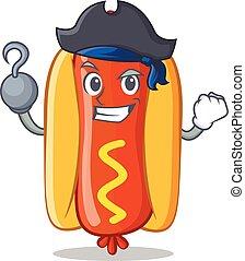 hot-dog, caractère, pirate, dessin animé