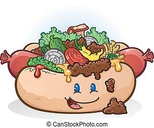 hot dog, cartone animato, carattere