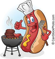 hot dog, cartone animato, cuocere, su, uno, barbecue