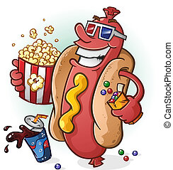 Hot Dog Cartoon At the Movies - A smiling hot dog cartoon...