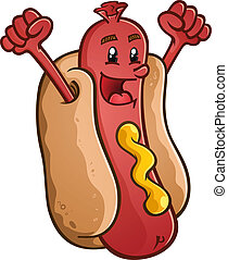 Hot Dog Cartoon Character Celebrati - A smiling hot dog...