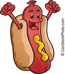Hot Dog Cartoon Character Celebrati - A smiling hot dog...