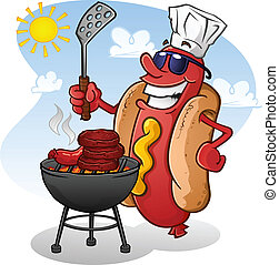 A hot dog character with attitude, wearing sunglasses and cooking out on a hot summer day!