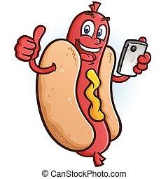 Hot Dog Cartoon Character Using a Smart Phone
