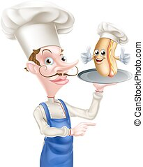 Hot Dog Cartoon Chef Pointing