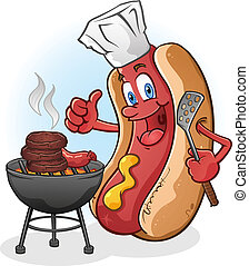 A Happy Hot Dog Cartoon Character Grilling on a Barbecue