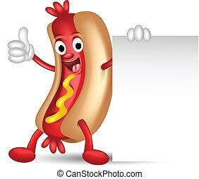 hot dog cartoon holding blank sign