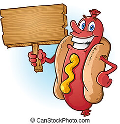 A smiling cheerful hot dog cartoon character holding a blank wooden sign advertisement