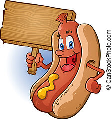 Hot Dog Cartoon Holding Wooden Sign - A hot dog cartoon...