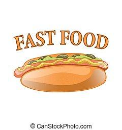 Hot Dog Cartoon Illustration.