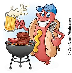 Hot Dog Cartoon Tailgating and Beer