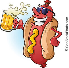 A hot dog character in sunglasses, partying the night away while drinking a tall cold mug of beer!