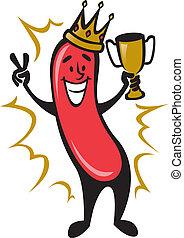 Hot Dog Champion - Illustration of a cartoon hot dog winning...