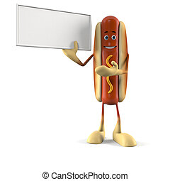 Hot dog character - 3d rendered illustration of a hot dog...