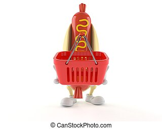 Hot dog character holding shopping basket