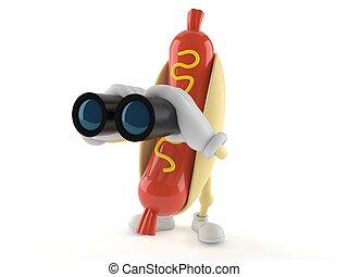 Hot dog character looking through binoculars