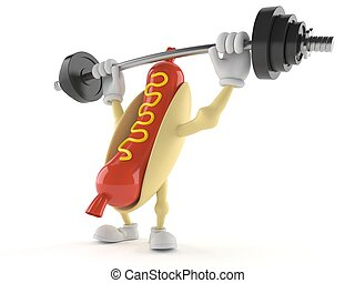 Hot dog character with barbell