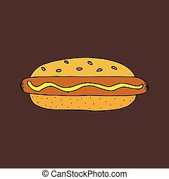 Hot dog. Colorful hand drawn vector illustration isolated on brown background. doodles cartoon style.