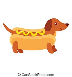 Hot dog dachshund puppy - Dachshund puppy in hot dog bun...